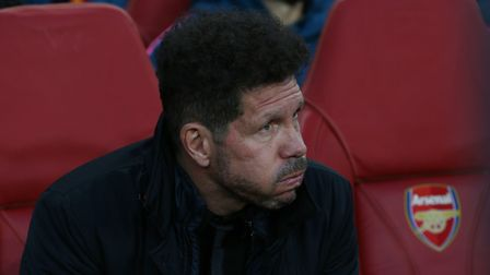Manager of Atlético Madrid Diego Simeone on the bench in the UEFA Europa League game between Arsenal