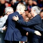 Arsenal manager Arsene Wenger (centre) with Manchester United manager Jose Mourinho (right) and Sir
