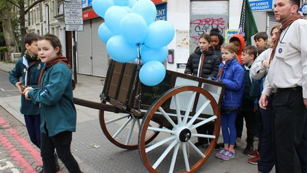 5th Islington Scout Group on their anniversary hike, with the restored cart in tow. Picture: Lindsay