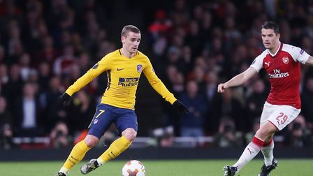 Antoine Griezmann of Atlético Madrid in the UEFA Europa League game between Arsenal v Atlético Madri