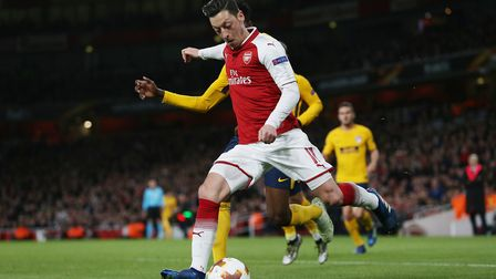 Mesut Özil of Arsenal in the UEFA Europa League game between Arsenal v Atlético Madrid at the Emirat