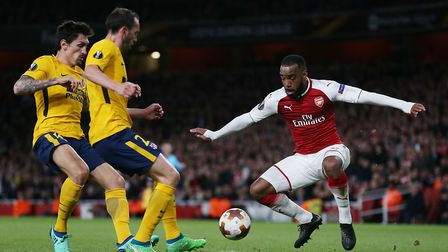 Alexandre Lacazette of Arsenal in the UEFA Europa League game between Arsenal v Atlético Madrid at t