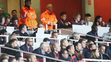 Islington Gazette Arsenal reporter Layth Yousif in the press box for the UEFA Europa League game bet