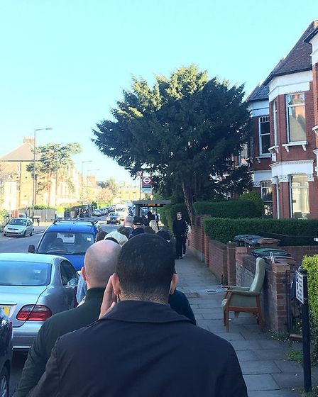 Up to 30 people queuing for the W3 bus in Weston Park, Crouch End, on Tuesday morning. Picture: @laj