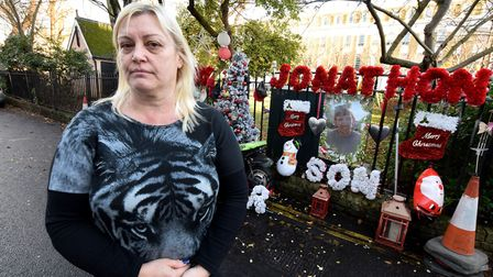 Michelle McPhillips by a memorial wall for her son, JJ, in Milner Square, Islington. Picture: Polly