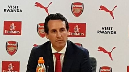Unai Emery - the new Arsenal coach at the Emirates. CREDIT: @laythy29