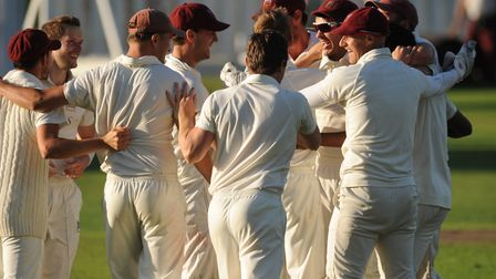 Highgate players celebrate after winning in the Middlesex County League (pic: Michael Clarke/Highgat