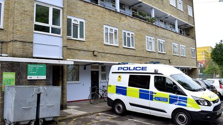 A police van parked outside Papworth Gardens this morning. Picture: Polly Hancock