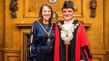 Cllr Dave Poyser, Islington's mayor for 2018/19, with his consort: wife Emma. Picture: Em Fitzgerald