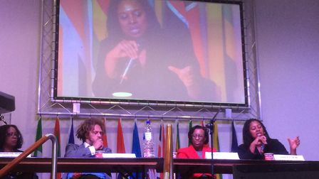 Dawn Butler MP, right, speaks on the panel at the New Testament Church of God in Willesden. Picture: