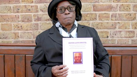 Sentina Bristol, the mother of Dexter Bristol, at his funeral in south London. Dexter's lawyer spoke