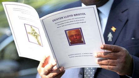 An order of service for the funeral of Dexter Bristol. Picture: Yui Mok/PA Wire
