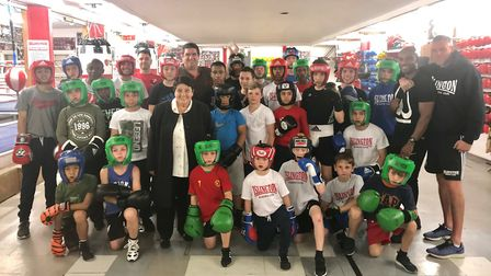 Islington Boxing Club youngsters and coaches face the camera (pic Reggie Hagland)