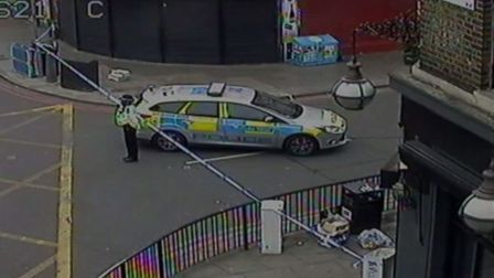 Blackstock Road was taped off on Saturday morning after the stabbing. Picture: BBC