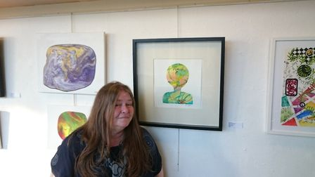 Sue Lyons pictured next to her piece Serendipity. Picture: Camden and Islington NHS Foundation Trust