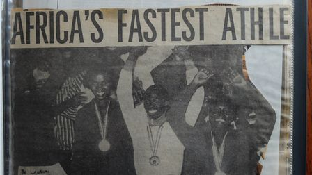 A clipping declaring Matron Amankwaah Africa's fastest athlete.