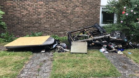 The debris outside the block on Thursday morning. Picture: Tom Ladle