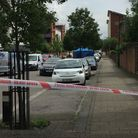 The scene in Lawrence Avenue on Friday. Picture: Vicky Munro