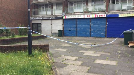 The scene following the stabbing in Rainborough Close, Neasden. Picture: Vicky Munro