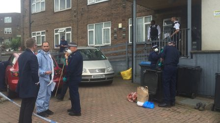 Police at the scene of the woman's death in Neasden Lane. Picture: Lucas Cumiskey