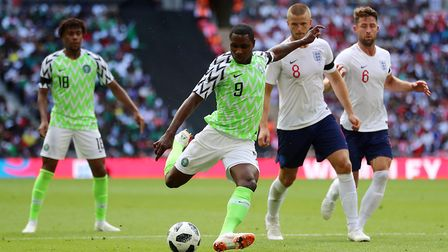 Nigeria's Odion Ighalo attempts a shot on goal during the International Friendly match at WembleySt