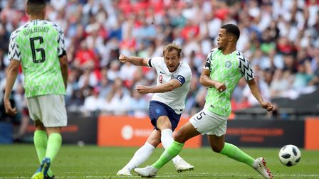 England's Harry Kane scores his side's second goal of the game during the International Friendly mat