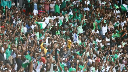 Nigeria fans in the stands show their support during the International Friendly match at WembleySta