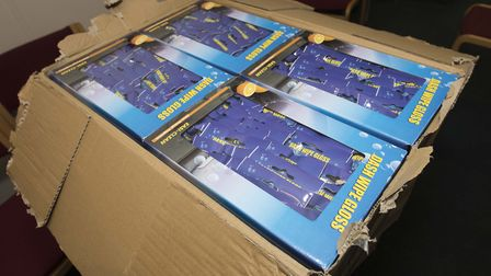 Box containing illegal tobacco pouches hidden in cleaning wipes packaging. Picture: HMRC