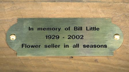 The plaque dedicated to flower-seller Bill Little. Picture: Siorna Ashby