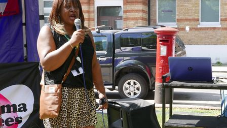 Sandi Phillips speaking at Elthorne Pride's 'big lunch' earlier this month. Picture: Elthorne Pride