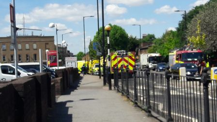 Ambulances and fire engines outside Islington Police Station this morning.
