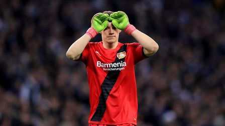 New Arsenal goalkeeper Bernd Leno in action for his previous club Bayer Leverkusen goalkeeper agains