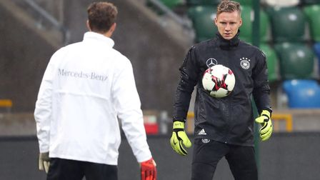 Germany goalkeeper Bernd Leno during a training session at Windsor Park, Belfast (pic Niall Carson/P