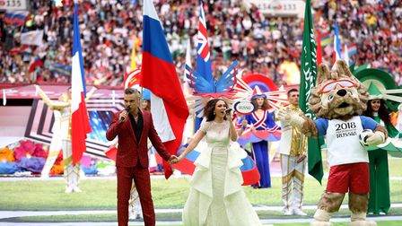 Robbie Williams and Aida Garifullina perform at the opening ceremony of the FIFA World Cup 2018, Gro