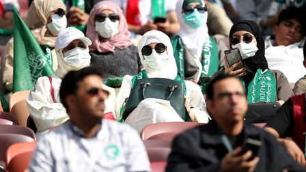 Saudi Arabia fans in the stands ahead of the FIFA World Cup 2018, Group A match against Russia at th