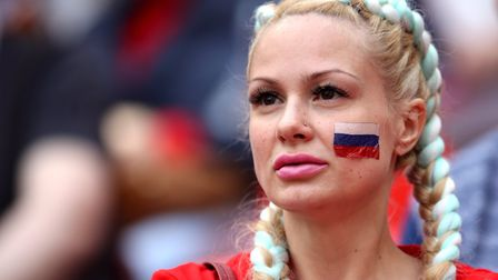 A Russia fan in the stands ahead of the FIFA World Cup 2018, Group A match against Saudi Arabia at t