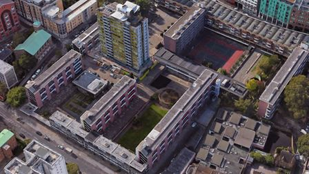 An aerial view of the Golden Lane estate. Picture: Google Maps