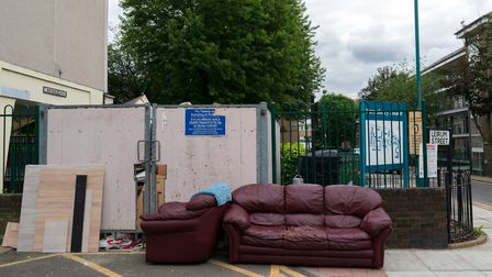 A fly-dump in the Barnsbury Estate, pictured on Sunday. Picture: Siorna Ashby