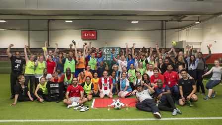 The teams at community football tournament Show Domestic Violence the Red Card. Picture: Steve Bainb