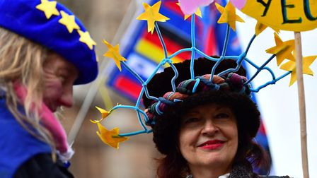 Anti-Brexit campaigners outside the Houses of Parliament. Photograph: PA Wire.