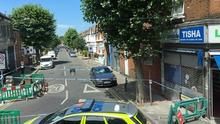 The road was taped off on Monday after the stabbing. Picture: Annika McQueen