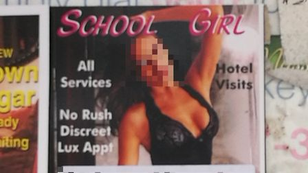 A censored version of the calling card left in the Kilburn High Road bus stop.