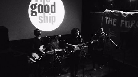 Sam Williams, centre, performing at The Good Ship in Kilburn High Road. Picture: Sam Williams