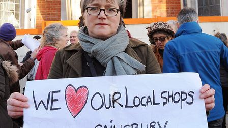 Cllr Caroline Russell at an anti-Sainsbury's protest in Blackstock Road last year. Picture: Dieter P