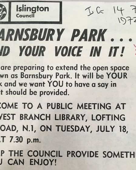 A 1972 advert for a public meeting to discuss extending Barnard Park, then known as Barnsbury Park.