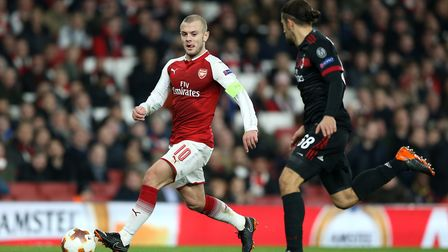 Arsenal's Jack Wilshere (left) and AC Milan's Ricardo Rodriguez during the UEFA Europa League round