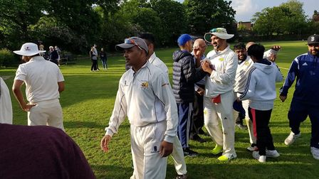 Crouch End players celebrate after another win (pic: Crouch End CC).