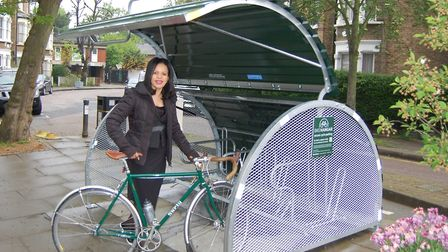 Cllr Claudia Webbe at a bikehangar in Crayford Road, Holloway. Picture: ISLINGTON COUNCIL