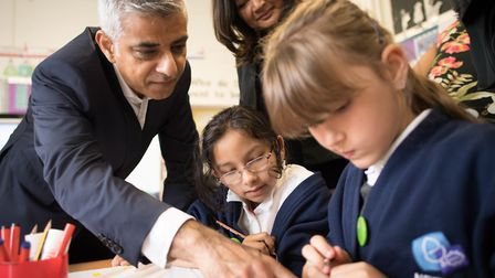 Mayor of London Sadiq Khan with schoolchildren at Netley Primary School, where he announced the ultr