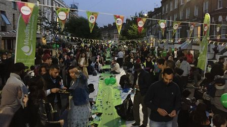 The street iftar in Seven Sisters Road on Wednesday evening. Picture: Vicky Munro